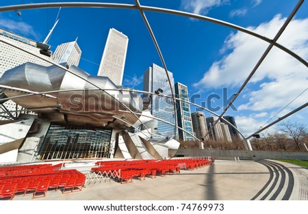 CHICAGO - NOVEMBER 14: Millennium Park, seen here on Nov. 14, 2010, is located in downtown Chicago, Illinois. Completed in 2004, it cost $475 million and is considered a major construction project since the 1893 World's Exposition in Chicago. - stock photo