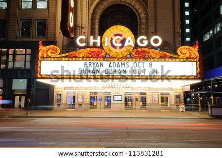 CHICAGO - OCT 4: The famous Chicago Theater on State Street on october 4, 2011 in Chicago, Illinois. Opened in 1921, the theater was renovated in the 1980's at a cost of $4.3 million. - stock photo