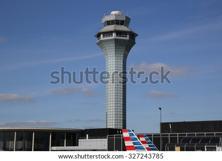 CHICAGO - OCTOBER 11, 2015: Air Traffic Control Tower at O'Hare International Airport in Chicago