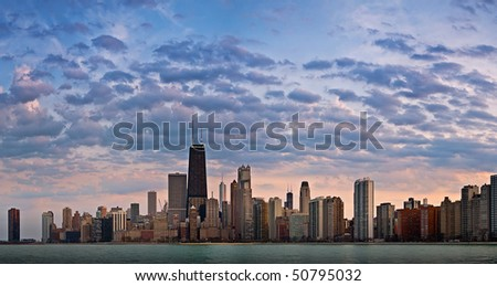 Chicago panorama just before sunset. - stock photo