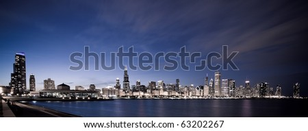 Chicago panoramic at night - stock photo