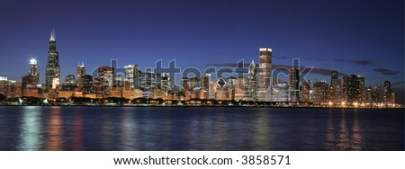 Chicago panoramic at twilight (large file)
