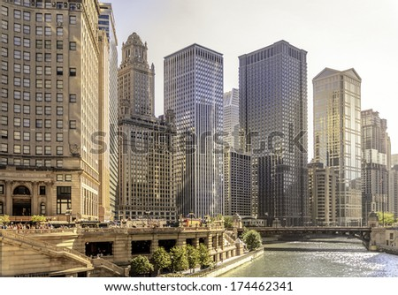 Chicago River and skyscrapers in East Wacker Drive - stock photo
