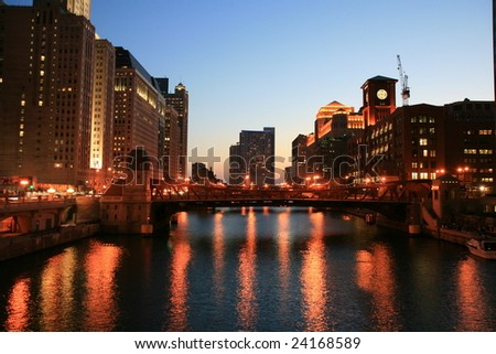 Chicago River at night looking west - stock photo