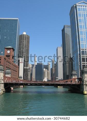 Chicago river, Illinois - stock photo