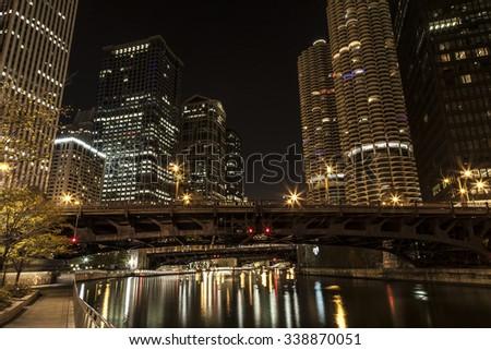 Chicago River Night Scene Bridge - stock photo