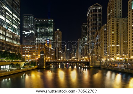 Chicago riverfront at night.