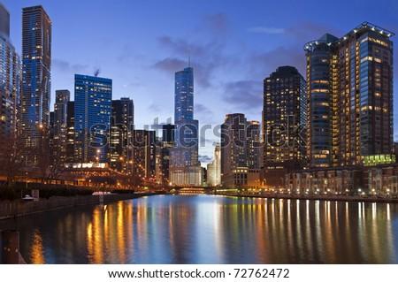 Chicago riverside - stock photo