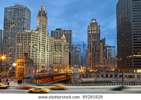 Chicago riverside. Image of Chicago downtown district at twilight. - stock photo