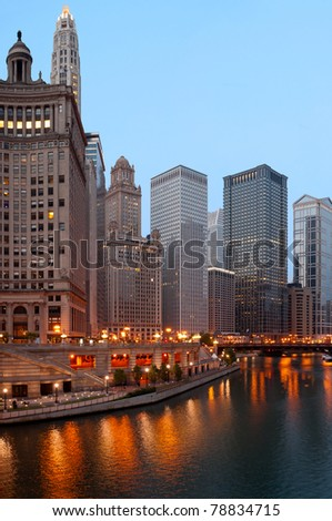 Chicago riverside in the morning.