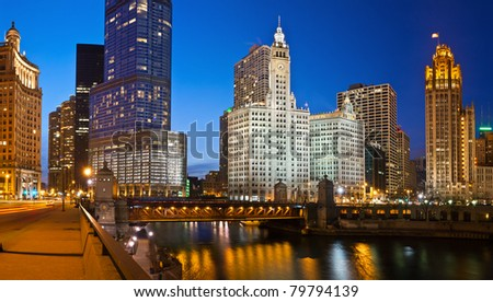 Chicago riverside. Panoramic image of Chicago downtown district at twilight. - stock photo