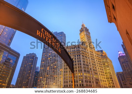 Chicago Riverwalk sign at twilight - stock photo