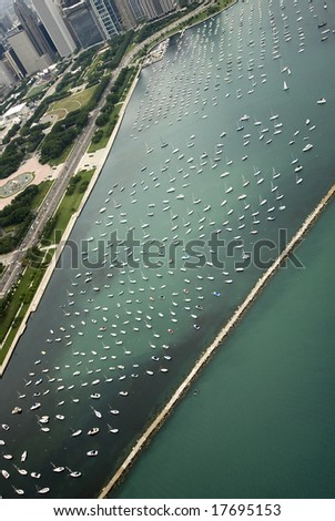 Chicago's beautiful harbor filled with sailboats - stock photo