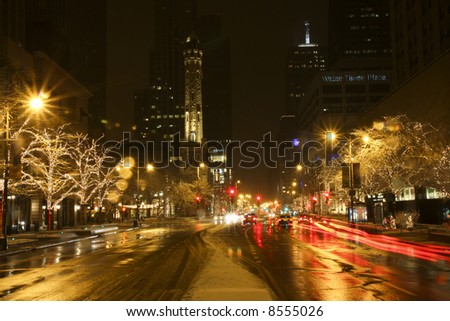 Chicago's Magnificent Mile with Holiday Lights - stock photo