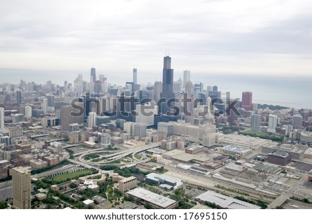 Chicago's skyline on a cloudy day - stock photo