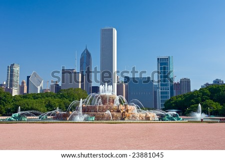 Chicago's skyline with Buckingham Fountain in the foreground - stock photo