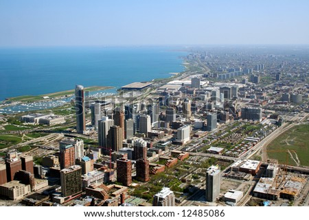 Chicago's south side aerial view - stock photo