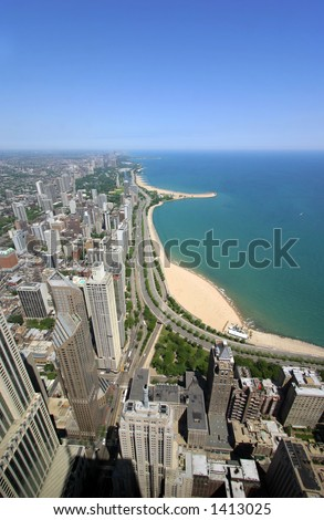 Chicago's wealthiest neighborhood (2nd in the USA), the Gold Coast located on the Near North Side. - stock photo