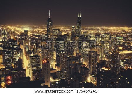 CHICAGO - SEP 10 2012: Chicago, Illinois taken from a high elevation above downtown. - stock photo