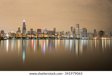Chicago - September 7, 2015: Panoramic view of the Chicago Skyline over Lake Michigan at night.