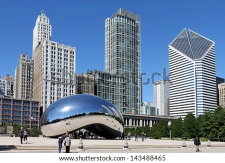 CHICAGO - SEPTEMBER 13:  The mirrored sculpture popularly known as the Bean (Cloud Gate, by Anish Kapoor), has become one of Chicago's most popular attractions, as seen on September 13, 2010.  - stock photo