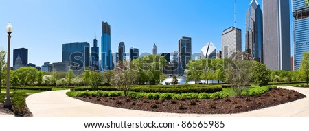 Chicago skyline a panoramic view from millennium park - stock photo
