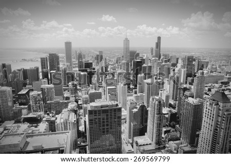 Chicago skyline - aerial view. Black and white tone - retro monochrome color style. - stock photo