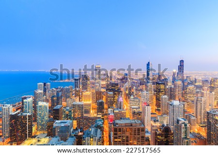 Chicago skyline aerial view over Lake Michigan.