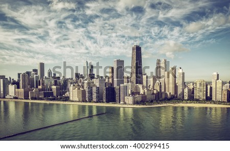 Chicago Skyline aerial view skyscrapers by the beach , vintage colors - stock photo