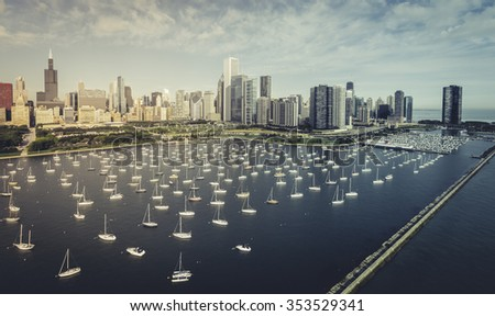 Chicago Skyline aerial view with boats, park and marina - stock photo