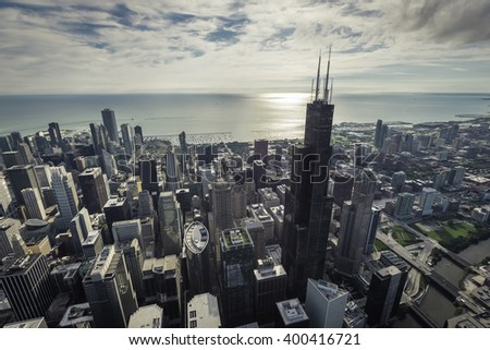 Chicago Skyline aerial view with downtown skyscrapers. Morning sun - stock photo