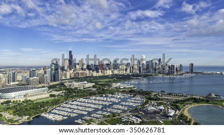 Chicago Skyline aerial view with park and marina - stock photo