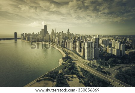 Chicago Skyline Aerial View with park and the beach - Vintage colors - stock photo