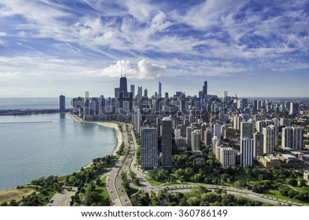 Chicago Skyline aerial view with road by the beach
