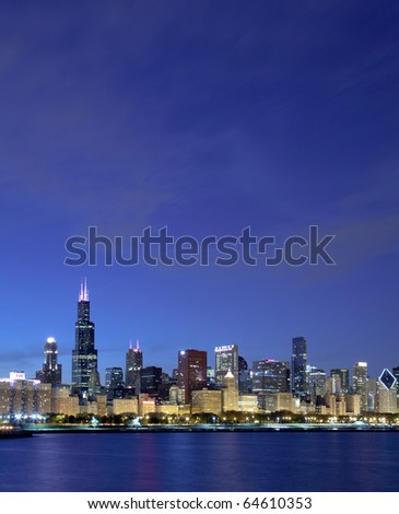 Chicago skyline along Lake Michigan - stock photo