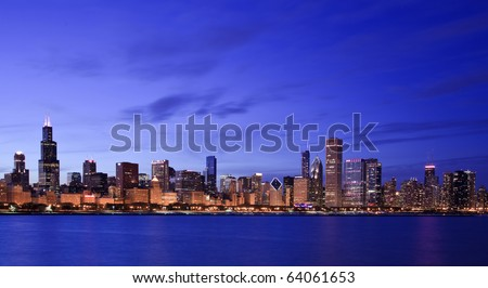 Chicago skyline along the shore of Lake Michigan - stock photo