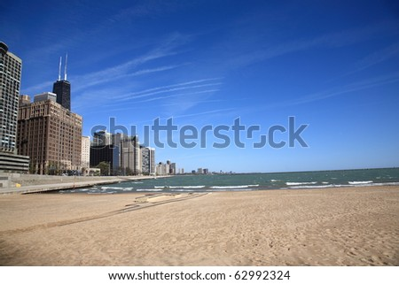 Chicago Skyline and Beach - Buildings of Windy City near Lake Michigan