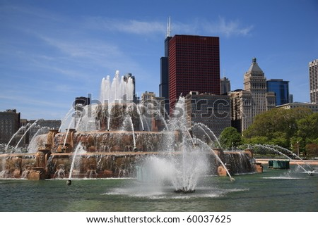 Chicago Skyline and Buckingham Fountain - stock photo