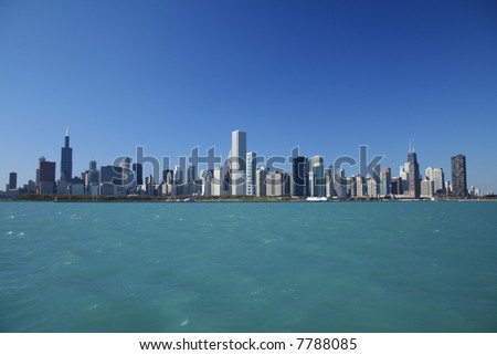 Chicago skyline as seen from Lake Michigan - stock photo