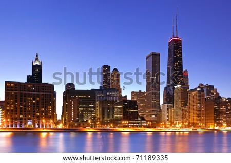 Chicago skyline at dusk - stock photo