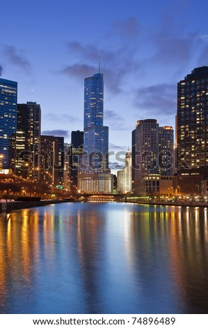Chicago Skyline at Dusk, with Trump Tower - stock photo