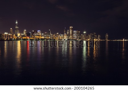 Chicago Skyline at Night - stock photo