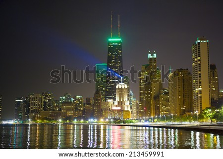 Chicago Skyline at Night - stock photo