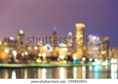 Chicago Skyline at Night- Blurred Photo bokeh - stock photo