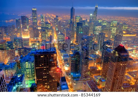 Chicago Skyline at Night from the John Hancock Building.  HDR from five exposures. - stock photo