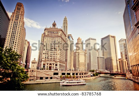 Chicago Skyline at sunset - stock photo