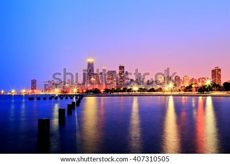 Chicago Skyline at Sunset in Epic Colors - stock photo