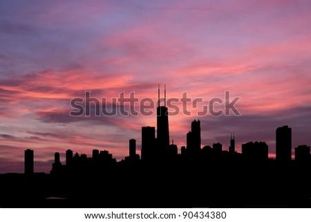 Chicago Skyline at sunset with beautiful sky illustration - stock photo