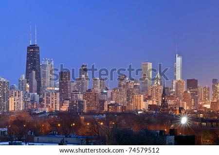 Chicago skyline at twilight - stock photo