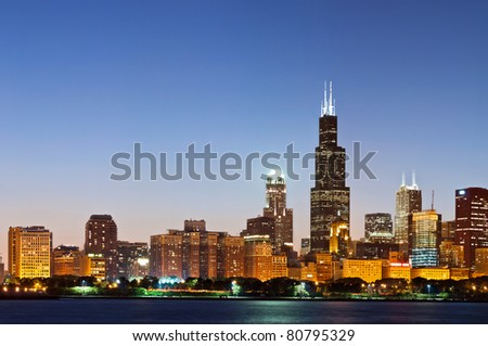 Chicago skyline at twilight. - stock photo